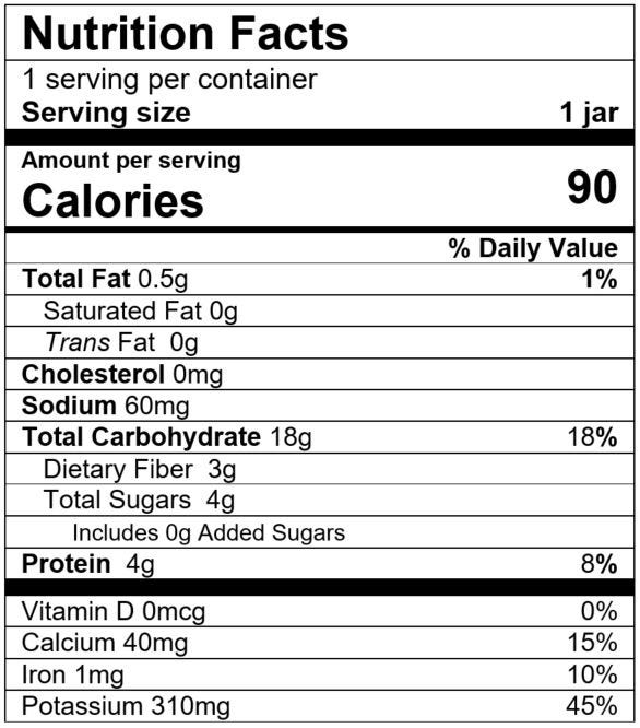 Nutrition Facts Garden Veggies & Rice